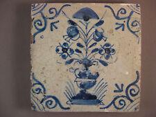 Antique Dutch tile flower rare tiles 17th century -- free shipping