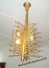 Collectible Modern Vintage Brass Finish Atomic Sputnik Chandelier Fixture 1950s