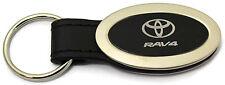 Toyota Rav4 Oval Black Leather Key Chain Metal Key Ring Fob Lanyard TRD