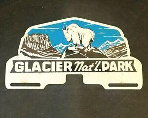 Vintag GLACIER NATIONAL PARK PAINTED LICENSE PLATE TOPPER Rare Advertising Sign