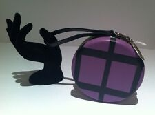 BIMBA Y LOLA Soft LEATHER & SUEDE Round Clutch Prom Evening WRISTLET Handbag NWT