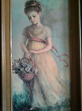 MYRTLE MEDEIROS Vintage Print On Board Signed Flower Girl Painting Big Eyes