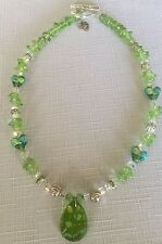 Hand Beaded Silver and Lime Green August Birthstone Color (Peridot) Necklace EUC