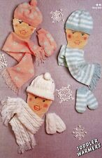BABY'S~TODDLERS~HAT~SCARF~MITTENS~ KNITTING PATTERN SIZE 6 MONTHS-3 YEARS  (F32)