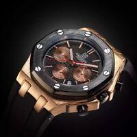 Elegante Armbanduhr Herren Schwarz Gold Datum Stoppuhr wasserdicht analog