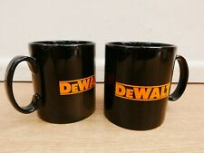 PAIR OF EARTHENWARE POTTERY COFFEE TEA MUGS WITH DEWALT LOGO