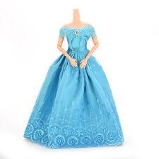 New 1 Pcs Handmade Clothes Dresses For Barbie Doll & Disney Princess Blue Nice W