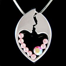 w Swarovski Crystal ~Pink MOM Mother Love Baby Child Heart Mothers Day Necklace