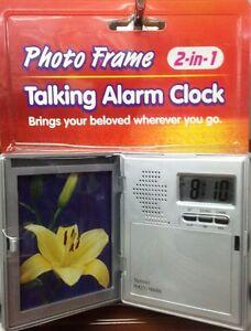 TALKING ALARM CLOCK PHOTO FRAME TABLE CLOCK FOLDING TRAVEL ALARM CLOCK DIGITAL