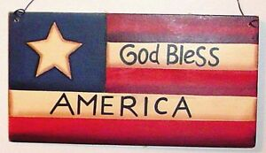AMERICANA Flag God Bless America Country Rustic Wood sign
