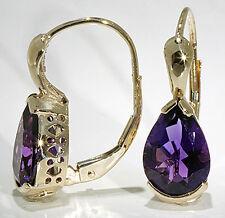 14k Yellow Gold Earrings Pear Shape 2.80 ctw African Amethyst