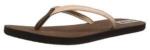 Reef DOWNTOWN TRUSS Brown Braided Strap Thong Sandals (D) Women's Flip Flops
