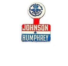 1964 LYNDON B. JOHNSON LBJ TAB campaign pinback button political badge HUMPHREY