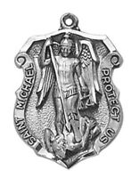 """St Michael Archangel Medal Pendant Necklace 24"""" Chain ITALY Silver"""