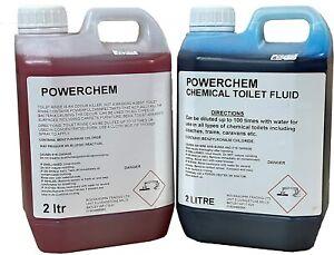 2x 2L Chemical Toilet Fluid Cleaner + Pink Bowl Rinse CARAVAN MOTORHOME BOAT