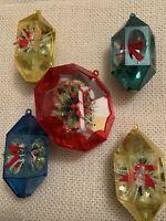 Vintage Christmas Jewel Brite Plastic Diorama Ornaments Lot Of 5