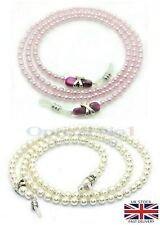 Sunglasses Eye Glasses Holder Necklace Pearl Chain Silver X Nuget dg15028 -No1