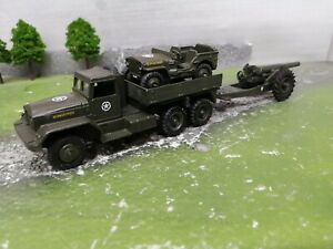 Dinky 665.U. S. 6x6 truck.. willy's jeep & 693 howitzer military army code3
