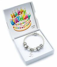 21st Birthday Cream Leather Charm Bracelet for Women with Gift Box