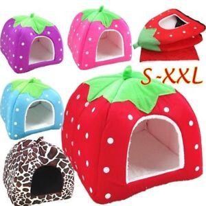 Strawberry Pet Dog House Kennel Doggy Basket Puppy Sleeping Mat Nest Warm Beds