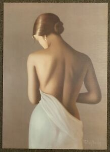 Philippe Boudon Nude in White Dress Signed Giclee on Canvas Contemporary Art