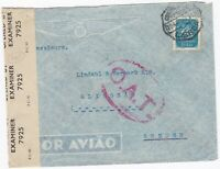 # 1945 LISBON PORTUGAL O.A.T. CACHET ONWARD AIR TRANSMISSION CENSORED TO SWEDEN