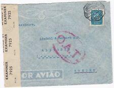 # 1945 LISBON PORTUGAL O.A.T. CACHET ONWARD AIR TRANSMISSION CENSORED TO SWEDEN