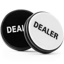 "Quality 2-Sided Black/White 3"" Acrylic & Rubber Poker Dealer Button Puck"