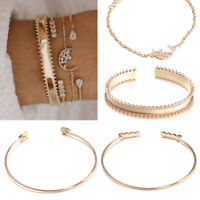 1Set Womens Crystal Round Open Bangle Gold Bracelet Chain Jewelry Fashion
