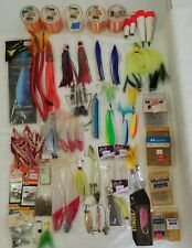 Saltwater Fishing Lot, Big Game, Lures, Spoons, Feathers, Hooks, Planers, Etc.