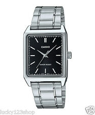 MTP-V007D-1E Black Casio Men's Watch Stainless Steel Band Date Day Brand-New