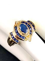 14K SOLID YELLOW GOLD 1/2 CT OVAL BLUE SAPPHIRE DIAMOND ACCENT COCKTAIL RING - 7