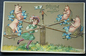 46413 Ak Many Glück IN New Year Goldgeprägte Card Girl With Pigs Seesaw