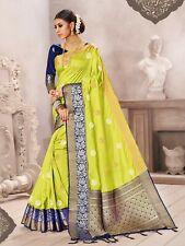 Bollywood Sari Indian Saree & Blouse Diwali Green Woven Banarasi Art Silk -1595