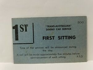 Trans Australian Dining Car Service First Sitting Ticket