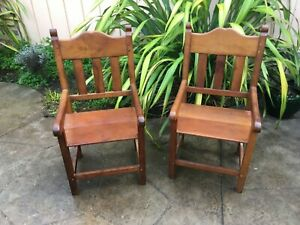 two Antique Iron wood Dining kings chair kitchen old antique europe handmade