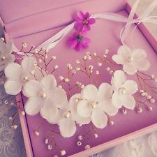 Elegant Women White Silk Flower Beads Wedding Beach Party Head Band Hair Band