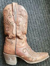 "Dan Post Women's Brown 12"" Goat/Inlay Cowboy Boots DP3256 Size  6"