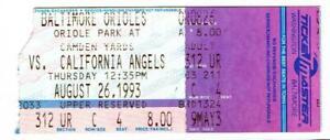 ANGELS @ ORIOLES~ 1993 Ticket, Ripken Sttreak #1865, Baines HR ~ FREE SHIPPING