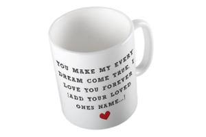 valentines mug Personalised Romantic White Valentine's Day Mug Dreams Come True