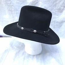 SSLA Vintage Black Bailey Hat Cowboy Hat 100/% Wool Felt Womens Small Cassidy Crown Country Western Wear Outback Style