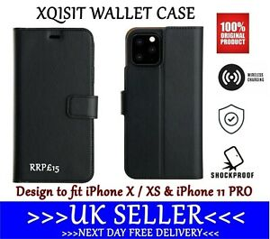 👉For iPhone 11 PRO👈Genuine XQISIT Wallet Case Flip Cover + Credit Card Storage