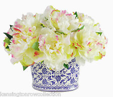 FLOWER ARRANGEMENTS - CREAM PEONY SILK FLORAL BOUQUET IN CHINOISERIE PLANTER