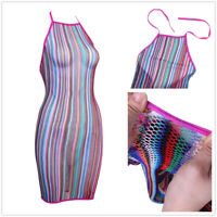 Women Lingerie Rainbow Fishnet Babydoll Stretch Chemise Mini Dress Nightwear