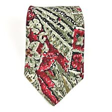 Guy Laroche Couture Geometric Floral Red Green Beige Mens Silk Necktie Dress Tie