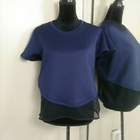 Under Armour Loose Fit Workout Mesh Shirt Top Womens size Large Navy Blue Black