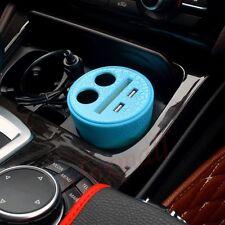 Auto universelle USB 2 + 2 Port Cigarette bleu plus clair prise coupe du titulaire de la charge