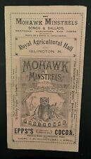 More details for vintage original mohawk minstrels programme islington 1898 tri fold