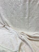 Vtg Queen Full Matelasse Bedspread Quilt Pink White Floral Shabby Farmhouse Chic