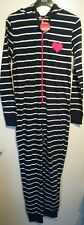 Monsoon Accessorize Ladies Navy White Striped Hooded Sleep Suit Stretchy UK Med